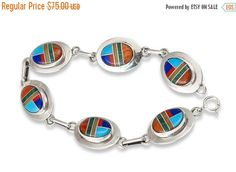 Navajo Turquoise Lapis Multi Inlay Silver Link Bracelet, Navajo Link Bracelet, Silver Link Bracelet, Freeshipping USA, Gift for her