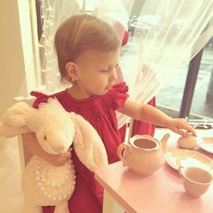 Trying on a few Savannah Dresses and playing tea with her new princess bunny friend at the store today . #savannahgirl #nashville #princess