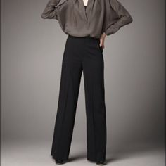 "Vince High-Waist Wide-Leg Black Pants 4 NWT Vince High-Waist Wide-Leg Black Pants.  Black Jersey, Viscose/Wool/Lycra.  Slits high on waist.  Side & Back Pockets.  Wide legs fall straight from hip, front crease.  Hook/zip front; belt loops.  Inseam is 34 1/2"" 4 NWT Vince Pants"