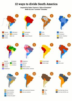 12 ways to divide South America. More stereotype maps >>