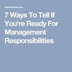 One question I'm asked a lot is how to know if a person is ready to move from an individual contributor role into a job that includes people management. If you're interested in moving into a management role, here are 7 areas you should evaluate… How To Know, To Tell, No Response, Management, This Or That Questions, Tips, Career, Carrera, Advice