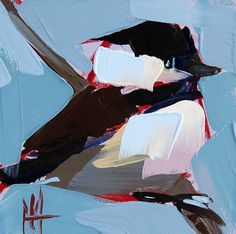 Chickadee no. 434 original bird oil painting by Angela Moulton prattcreekart