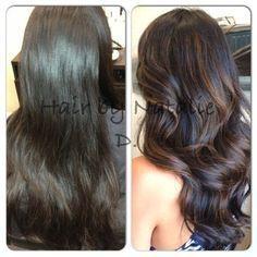 Balayage On Dark Brown Hair | before and after balayage | Yelp