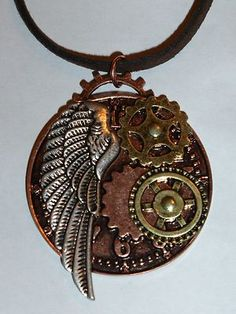 NEW Steampunk Gears Antiqued Necklace Pendant Copper Gears Silver Angel Wing