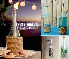 Wine Bottle Tiki Torch Oil Lamps with a Nautical, Coastal and Beach Theme: http://www.completely-coastal.com/2016/05/wine-bottle-tiki-torch-oil-lamps-nautical-beach-theme.html