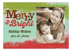 Rustic Merry And Bright Christmas Photo Card