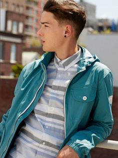 GQ Exclusive Preview: Capsule Lookbook for Spring/Summer 2012. (Rochester Blue jacket  and Jackson brown shirt)