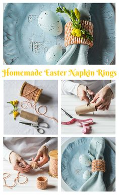 Easter Napkin Rings | No need to buy formal, and expensive, napkin holders. Spruce up your Easter table with some homemade napkin rings – only four materials needed!