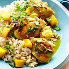 Mango Chicken over Rice Recipe from Sunset Magazine.  Definitely have to try this tonight!