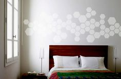 Hexagon Stencil - Tiny's room in the new house is smaller and the ceilings are shorter so the originally planned dark blue won't work. Solution: Paint the walls light gray with dark blue hexagons.