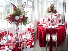 Kitchen Impressive Christmas Table Decor Party Decor Ideas Tall Vase Centerpiece Silver Candle Holder Embroidered Red Rose Tablecloth White Polyester Napkin Glass Flower Vase Table Setting Ideas Gorgeous Christmas Table Centerpieces