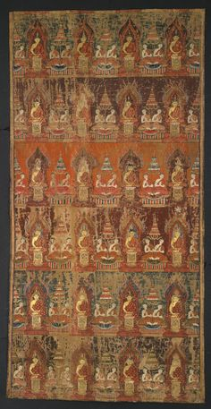 Painting of the 24 Buddhas of the Past. In Thailand, there are 24 named Buddhas who became enlightened before Gotama, the historical Buddha. In this painting, each one sits flanked by his two main disciples. Donors commissioned such paintings to hang in temples to beautify the space and honour the Buddha, in addition to promoting the religion and creating merit. 1800s, Thailand. Pigment on cloth and paper. 1959,1010,0.10. Funded by the Brooke Sewell Permanent Fund.