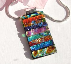 Multicolor Dichroic Glass Pendant - Multidicroic Glass Necklace - Fused Glass Jewelry by TremoughGlass on Etsy