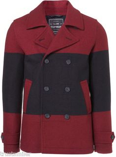 TOPMAN Red Black Wool Skinny Fit Peacoat