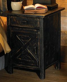 Distressed black barn door nightstand by Black Forest Decor