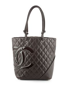Chanel Brown Quilted Lambskin CC Cambon Tote $1150