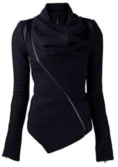 SYTX Womens Pile Collar Zipper Casual Irregular Woolen Coat Jacket Outerwear Black XS