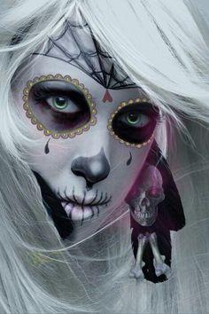All white art, Day of the Dead, Beautiful, Skull, Sugar Scull, Sugar Skull Girl, Sugar Skull Makeup, Pink Skull, Day Of The Dead Girl, Day Of The Dead Skull, Sugar Skull Tattoos, Candy Skulls, Maquillage Halloween