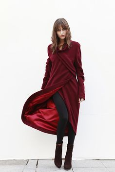 Wine Red Coat Bud Wool Coat Long Wool Coat Winter Coat Long Sleeve Coat Jacket for Women - NC420 ETSY