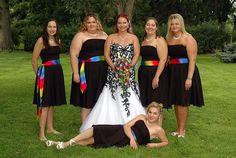 Cascading rainbow rose bouquet - rainbow wedding theme
