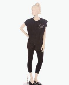 Shop Online Black Vest Bling of Scissor and comb at Salonwear.com Womens Vest, mens vest, vest with pockets, sleeveless vest, black apron, personalized vest, custom apron, custom vest and many more salon & spa apparels #salonwear #salonuniforms #spauniforms #spawear #usa