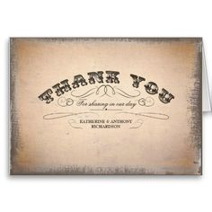 wedding thank you card in vintage style. Other same old typography design products: