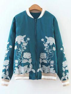 $41.99 Zipper Floral Embroidered Bomber Jacket - LAKE BLUE S