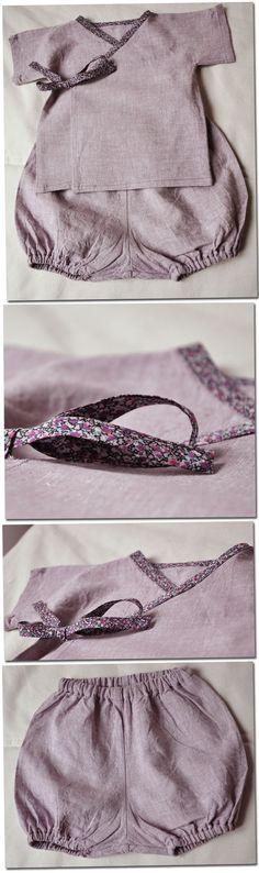 Kimono et bloomer - lin rose chiné Fabricsaddicts, biais Liberty Pepper from Stragier