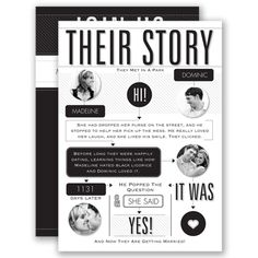 Everyone enjoys a good love story! Invite your guests with this completely unique typography wedding invitation that outlines your personal love story!