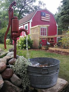 We used to drink from a pump like this. It had a tin cup hanging on it and YES- We all drank out of the same cup. There is nothing better than well water and it was always so very cold. No need for ice cubes!!!