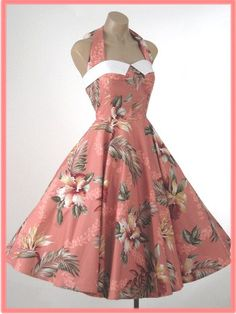 Vintage reproduction hawaiian print halter dress from Blue Velvet Vintage