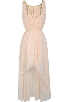 Rock Candy Chiffon High Low Dress in Cream- Lily Boutique