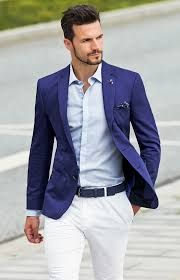 Image result for white trousers blue jacket mens