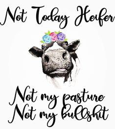 humor - Not Today Heifer Sticker Me Quotes, Funny Quotes, Funny Memes, Qoutes, Girl Quotes, Haha Funny, Funny Stuff, Funny Signs, Retro