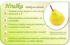 Hruška Fruit Facts, Raw Food Recipes, Healthy Recipes, Dieta Detox, Wellness, Natural Health, Gardening Tips, Helpful Hints, Pear