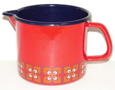 Vintage Enamel Finland Arabia Pattern Pitcher Mid Century Modern Red | eBay