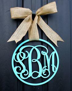 Wooden Monogram Monogrammed wreath Monogram door by OurSentiments $65.00 & Monogram Door Decor Vintage Modern Distressed Burlap Trendy ... pezcame.com