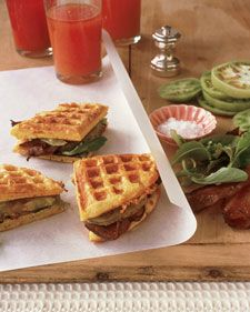 Cheddar Cornmeal Waffle BLT (Martha Stewart) for camping possibly TJ's waffles and precooked bacon.
