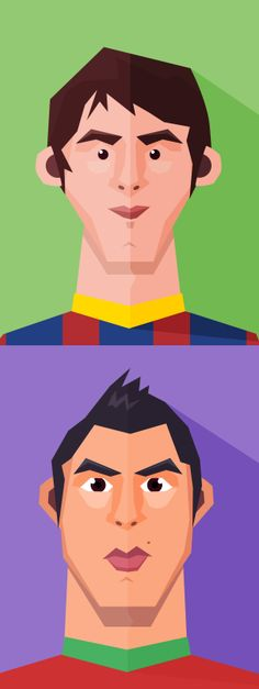 The cute Messi&Cristiano flat characters. You can also mix up faces, hair, to create your own unique avatar, character, mascot design easily…have fun ;)  Free Download : http://pixelmustache.net/files/messi-and-cristiano-flat-character/
