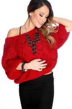 #FashionVault #kandy kouture #Women #Tops - Check this : Red Short Sleeves Knitted Sweater for $44.99 USD instead of $14.99 #OnSale