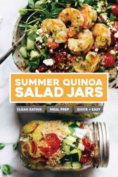 Summer Quinoa Salads with Lemon Dill Dressing! Hello shrimp, quinoa, tomato, cucumber, feta - my favorite healthy meal prep! #mealprep #healthyrecipe #quinoa #summer #shrimp | pinchofyum.com