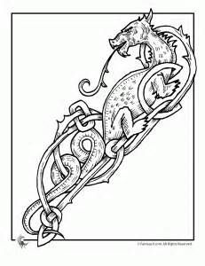 Celtic Dragon Coloring 6 Pages