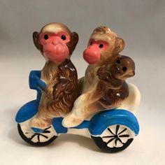 Amazingly! vintage motorcycle bunnies salt pepper shakers