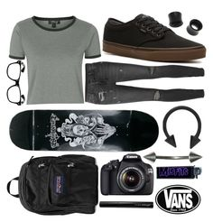 """He's coming over tonight thank god."" by punk-rock-chick ❤ liked on Polyvore featuring Ksubi, Vans, Topshop, NOVICA, JanSport, Canon and Antonym"