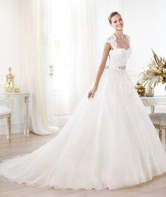 Square Chapel Train Satin Ball Gown Wedding Dress Wpr0048