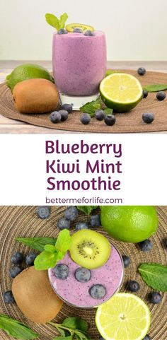 This blueberry kiwi mint smoothie is thick, rich, creamy, and sweet. It's loaded with fiber, antioxidant and anti-inflammatory health benefits. Find the recipe on BetterMeforLife.com