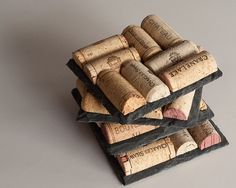 Sale Slate Wine Cork Coasters Wine Cork by MaxplanationPhotos