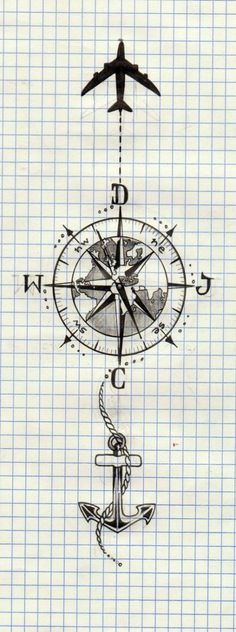 ideas for tattoo compass plane The post ideas for tattoo compass plane & Tattoo schwarz-weiß appeared first on Tattoos . Map Tattoos, Foot Tattoos, Body Art Tattoos, Sleeve Tattoos, Compass Drawing, Compass Tattoo Design, Tattoo Sketches, Tattoo Drawings, Trendy Tattoos