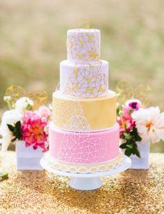 Pastel wedding cake with geometric sugar work pattern...playful and pretty!  ᘡղbᘠ