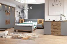 Lit design 160 x 200 cm gris et chêne - Arezzo Grey Bedroom Set, Black Bedroom Furniture, Bedroom Furniture Stores, Furniture Deals, Shabby Chic Furniture, Living Room Furniture, Modern Furniture, Cupboard Design, Bed Styling